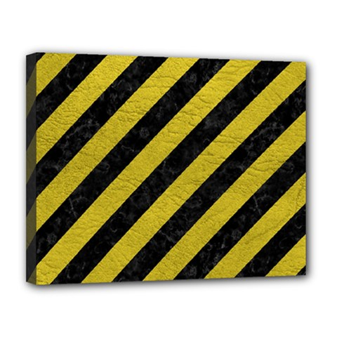 Stripes3 Black Marble & Yellow Leather (r) Canvas 14  X 11  by trendistuff