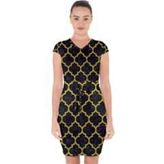 Tile1 Black Marble & Yellow Leather (r) Capsleeve Drawstring Dress
