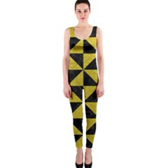 Triangle1 Black Marble & Yellow Leather Onepiece Catsuit by trendistuff