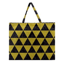 Triangle3 Black Marble & Yellow Leather Zipper Large Tote Bag by trendistuff