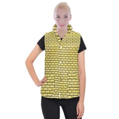 Brick1 Black Marble & Yellow Watercolor Women s Button Up Puffer Vest