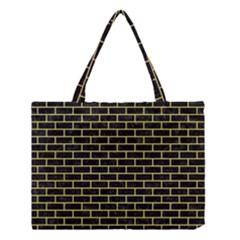 Brick1 Black Marble & Yellow Watercolor (r) Medium Tote Bag by trendistuff