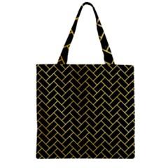Brick2 Black Marble & Yellow Watercolor (r) Zipper Grocery Tote Bag by trendistuff