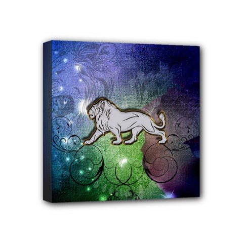 Wonderful Lion Silhouette On Dark Colorful Background Mini Canvas 4  X 4