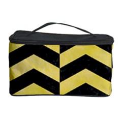 Chevron2 Black Marble & Yellow Watercolor Cosmetic Storage Case