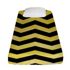 Chevron3 Black Marble & Yellow Watercolor Fitted Sheet (single Size) by trendistuff