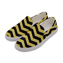 Chevron3 Black Marble & Yellow Watercolor Women s Canvas Slip Ons by trendistuff