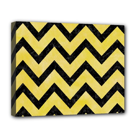 Chevron9 Black Marble & Yellow Watercolor Deluxe Canvas 20  X 16   by trendistuff