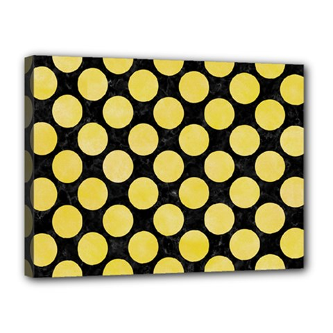 Circles2 Black Marble & Yellow Watercolor (r) Canvas 16  X 12  by trendistuff