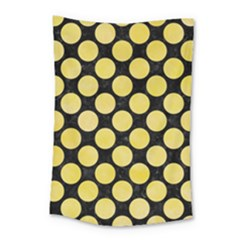 Circles2 Black Marble & Yellow Watercolor (r) Small Tapestry by trendistuff