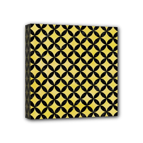 Circles3 Black Marble & Yellow Watercolor Mini Canvas 4  X 4