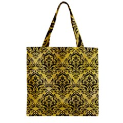 Damask1 Black Marble & Yellow Watercolor Zipper Grocery Tote Bag by trendistuff