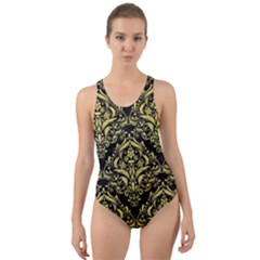 Damask1 Black Marble & Yellow Watercolor (r) Cut Out Back One Piece Swimsuit by trendistuff