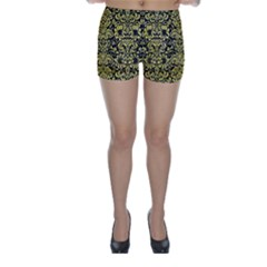 Damask2 Black Marble & Yellow Watercolor (r) Skinny Shorts by trendistuff