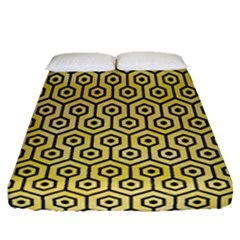 Hexagon1 Black Marble & Yellow Watercolor Fitted Sheet (queen Size) by trendistuff
