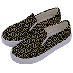 Hexagon1 Black Marble & Yellow Watercolor (r) Kids  Canvas Slip Ons by trendistuff