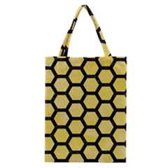Hexagon2 Black Marble & Yellow Watercolor Classic Tote Bag by trendistuff