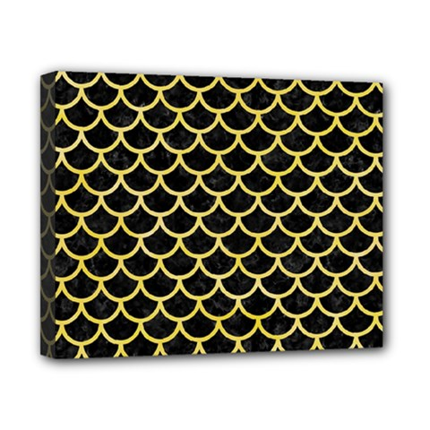 Scales1 Black Marble & Yellow Watercolor (r) Canvas 10  X 8  by trendistuff