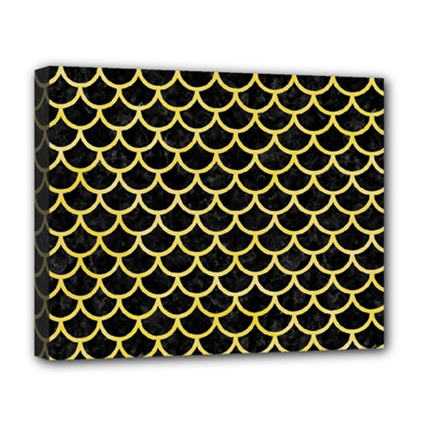 Scales1 Black Marble & Yellow Watercolor (r) Deluxe Canvas 20  X 16   by trendistuff