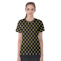 Scales1 Black Marble & Yellow Watercolor (r) Women s Cotton Tee