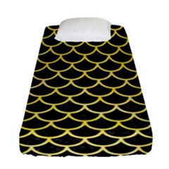 Scales1 Black Marble & Yellow Watercolor (r) Fitted Sheet (single Size) by trendistuff