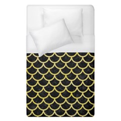 Scales1 Black Marble & Yellow Watercolor (r) Duvet Cover (single Size) by trendistuff