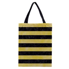 Stripes2 Black Marble & Yellow Watercolor Classic Tote Bag by trendistuff