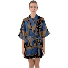 Superfiction Object Blue Black Brown Pattern Quarter Sleeve Kimono Robe by Mariart