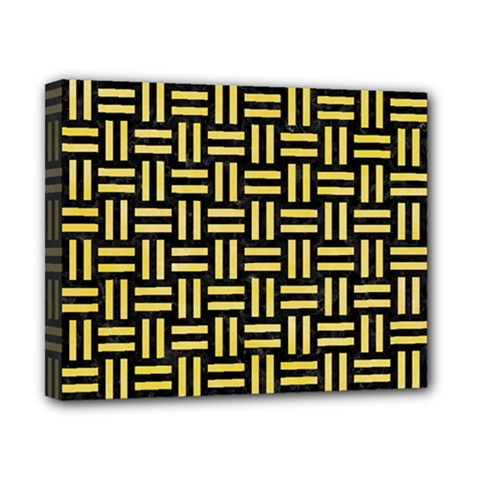Woven1 Black Marble & Yellow Watercolor (r) Canvas 10  X 8  by trendistuff