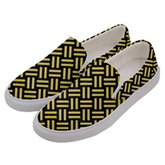 Woven2 Black Marble & Yellow Watercolor (r) Men s Canvas Slip Ons by trendistuff