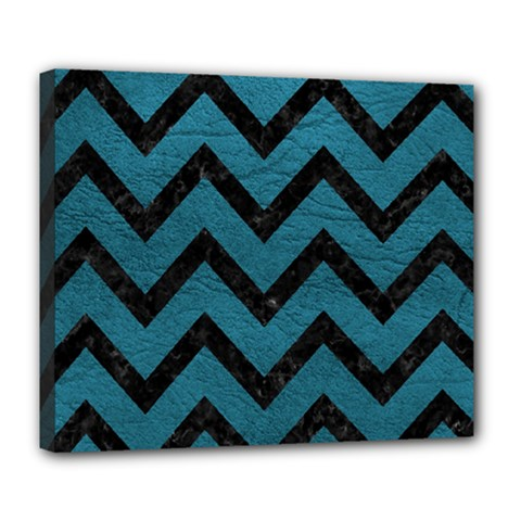 Chevron9 Black Marble & Teal Leather Deluxe Canvas 24  X 20   by trendistuff