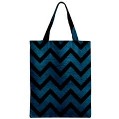 Chevron9 Black Marble & Teal Leather Zipper Classic Tote Bag by trendistuff