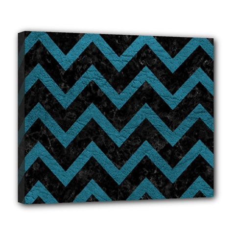 Chevron9 Black Marble & Teal Leather (r) Deluxe Canvas 24  X 20   by trendistuff
