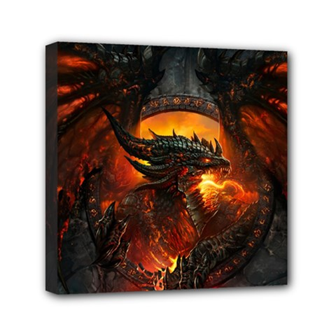 Dragon Legend Art Fire Digital Fantasy Mini Canvas 6  X 6  by Celenk