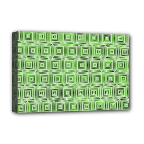 Classic Blocks,green Deluxe Canvas 18  X 12   by MoreColorsinLife