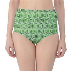 Classic Blocks,green High Waist Bikini Bottoms by MoreColorsinLife