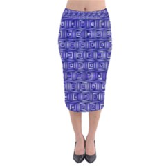 Classic Blocks,blue Velvet Midi Pencil Skirt by MoreColorsinLife