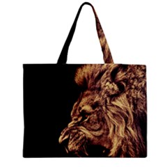 Angry Male Lion Gold Medium Tote Bag by Celenk