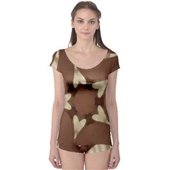 Chocolate Brown Kaleidoscope Design Star Boyleg Leotard  by yoursparklingshop