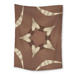 Chocolate Brown Kaleidoscope Design Star Medium Tapestry by yoursparklingshop