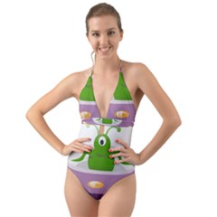 Ufo Halter Cut Out One Piece Swimsuit
