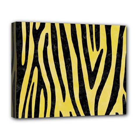 Skin4 Black Marble & Yellow Watercolor (r) Deluxe Canvas 20  X 16   by trendistuff