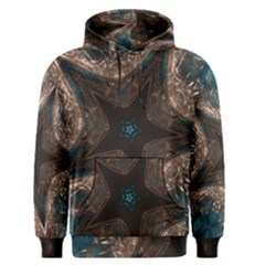 Kaleidoscopic Design Elegant Star Brown Turquoise Men s Pullover Hoodie by yoursparklingshop