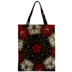 Christmas Wreath Stars Green Red Elegant Zipper Classic Tote Bag by yoursparklingshop