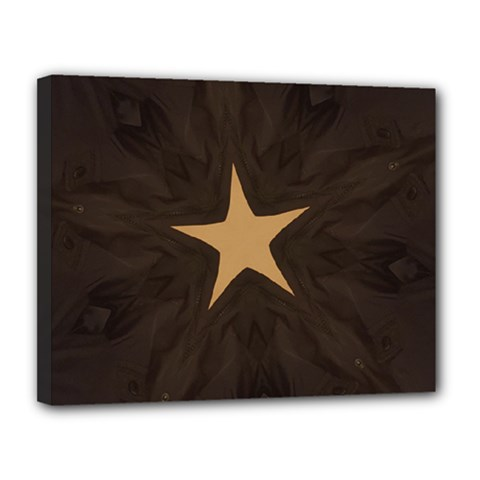 Rustic Elegant Brown Christmas Star Design Canvas 14  X 11  by yoursparklingshop