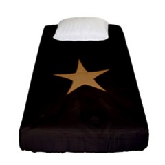 Rustic Elegant Brown Christmas Star Design Fitted Sheet (single Size) by yoursparklingshop