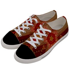 Red Star Ribbon Elegant Kaleidoscopic Design Women s Low Top Canvas Sneakers by yoursparklingshop