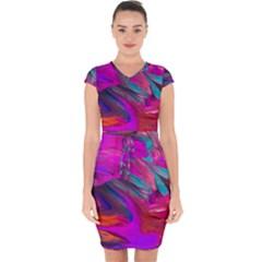Abstract Acryl Art Capsleeve Drawstring Dress
