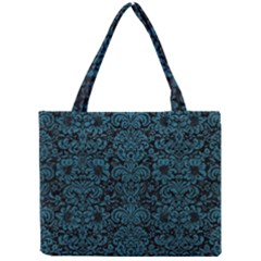 Damask2 Black Marble & Teal Leather (r) Mini Tote Bag by trendistuff