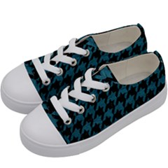 Houndstooth1 Black Marble & Teal Leather Kids  Low Top Canvas Sneakers by trendistuff